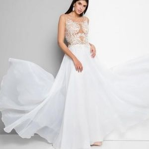 Terani Baroque Beaded Embroidery Prom Gown Ivory